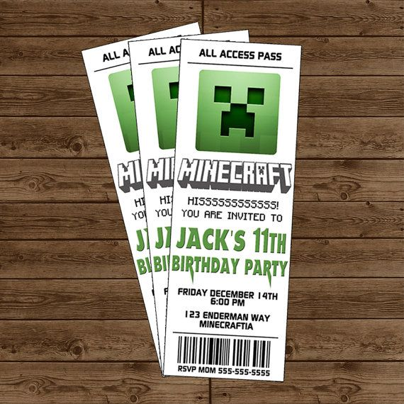 MINECRAFT Creeper Ticket Invitation  White  by alilfrostingshop, $10.00