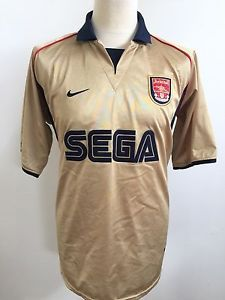 superior quality e1f69 f39d1 Vintage ARSENAL 2001-2002 AWAY Football Shirt NIKE GOLD SEGA ...