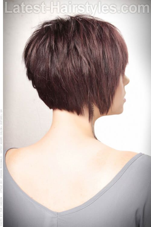 Short Haircut With Volume And Texture Back View Short Hair With Bangs Hair Styles Short Choppy Hair