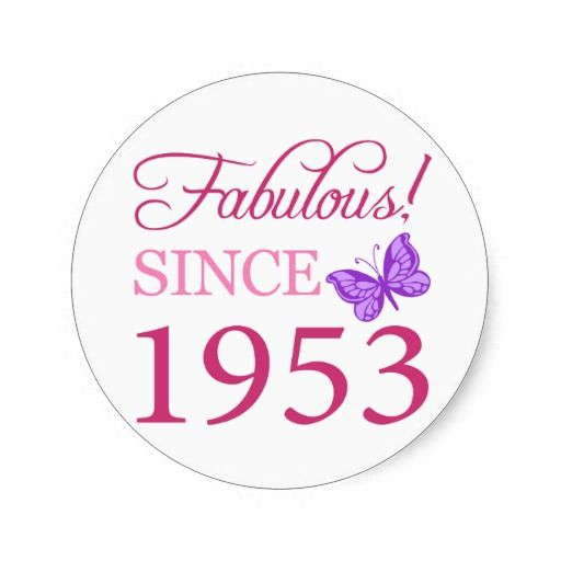 =>>Save on          Fabulous 1953 Birthday Gift Sticker           Fabulous 1953 Birthday Gift Sticker you will get best price offer lowest prices or diccount couponeHow to          Fabulous 1953 Birthday Gift Sticker Online Secure Check out Quick and Easy...Cleck Hot Deals >>> http://www.zazzle.com/fabulous_1953_birthday_gift_sticker-217130443816559253?rf=238627982471231924&zbar=1&tc=terrest