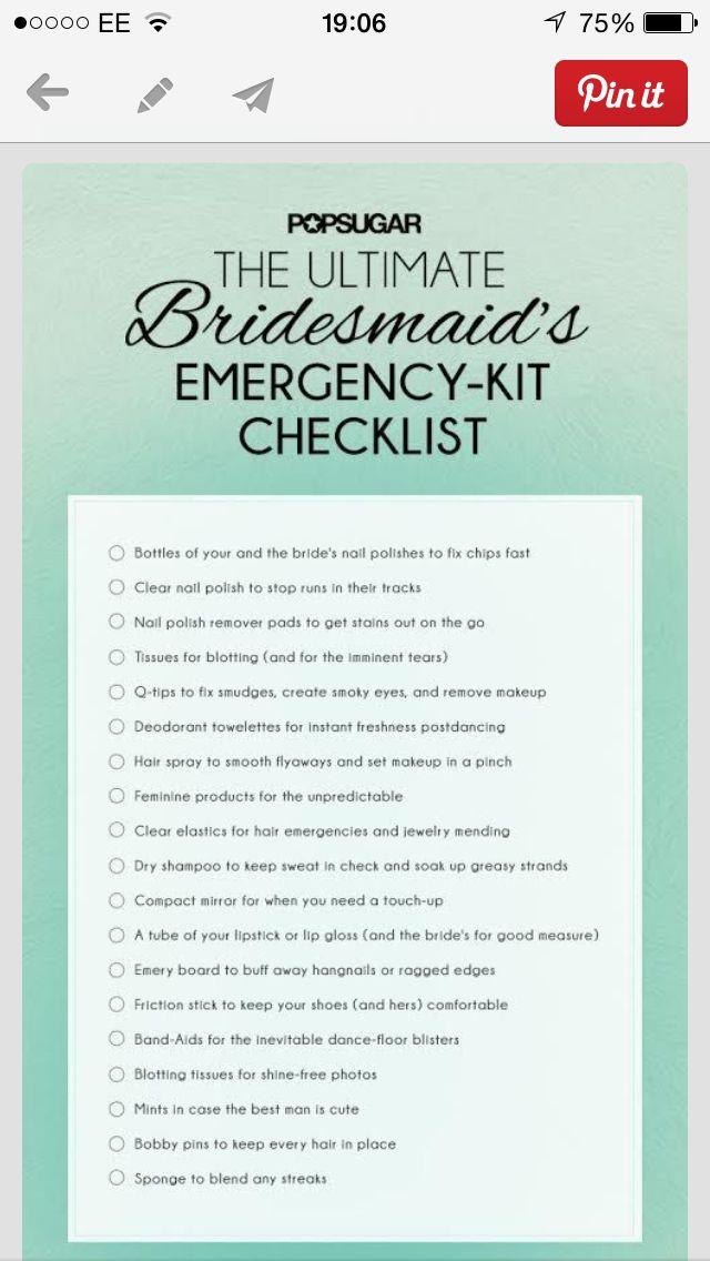 Bridesmaid\'s Emergency Kit Checklist | Wedding | Pinterest