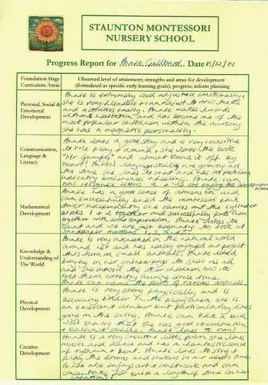 Example of a Nursery School Report - Staunton Montessori Nursery - progress report template for students