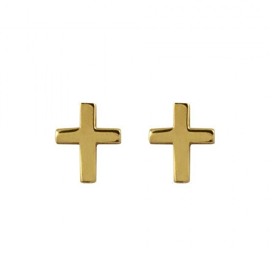 Pendientes de cruz en plata/oro
