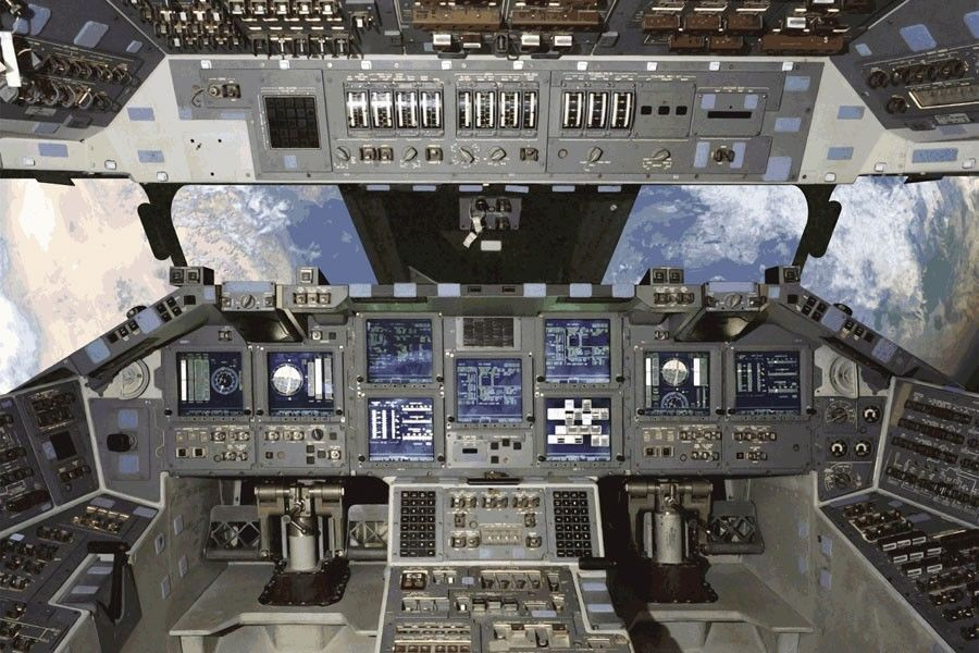 Details about nasa shuttle cockpit outer space easy up for Cockpit wall mural