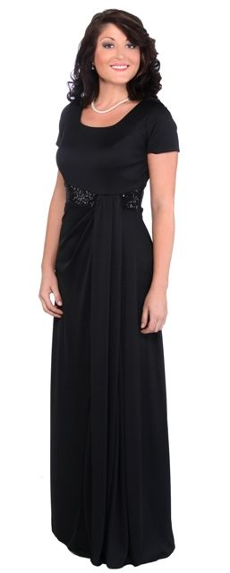 Short Sleeve Long Formal Occasion Ostinato Dress With Sequins