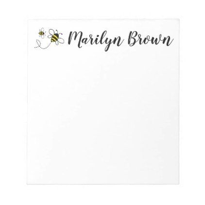 Bumble Bee Personalized Script Name Notepad   Script Gifts   Notepad  Template Word  Notepad Template Word