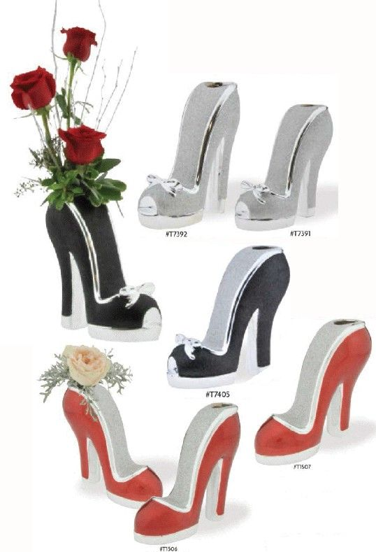 8.5 inch Ceramic High Heel Shoe Budvase - High Heel Centerpiece Chic And Shimmer Expressions Pinterest