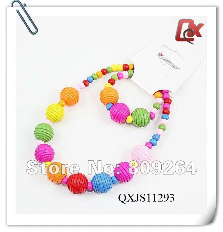 Wholesale & Retail Children Jewelry Set Necklace&Bracelet Fashion Kids Jewelry Set Handmade Wood Jewelry Set,1Dozen Free Ship