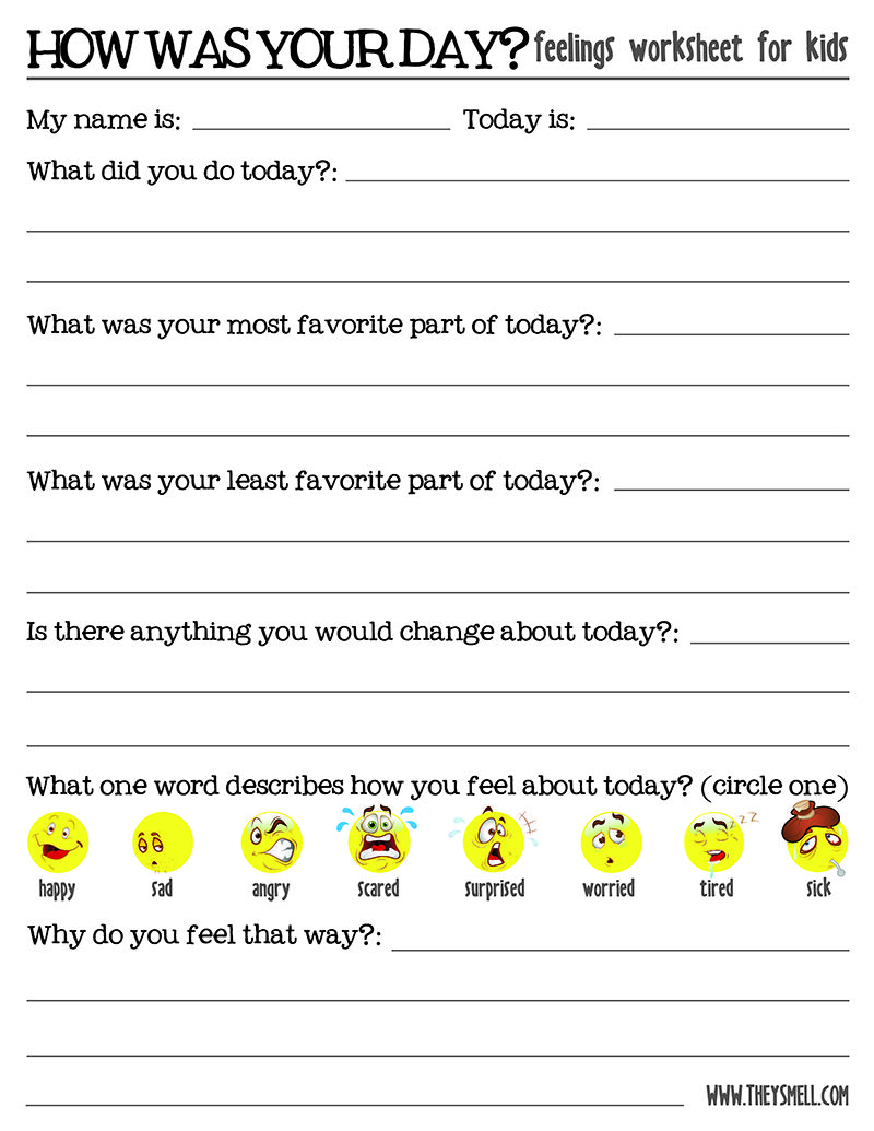 Worksheets Feelings Worksheet how was your day feelings worksheet for kids worksheets free kids