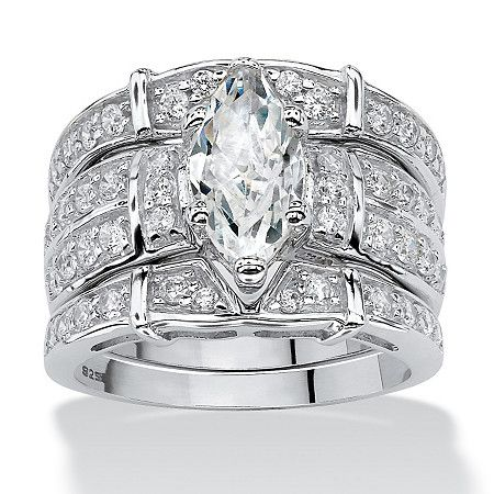How pretty this will look on your finger! Exquisite marquise-cut and round cubic zirconia wedding ring set offers 3.05 carats T.W. of extravagant glitter set inPrice - $99-eyHJunTk