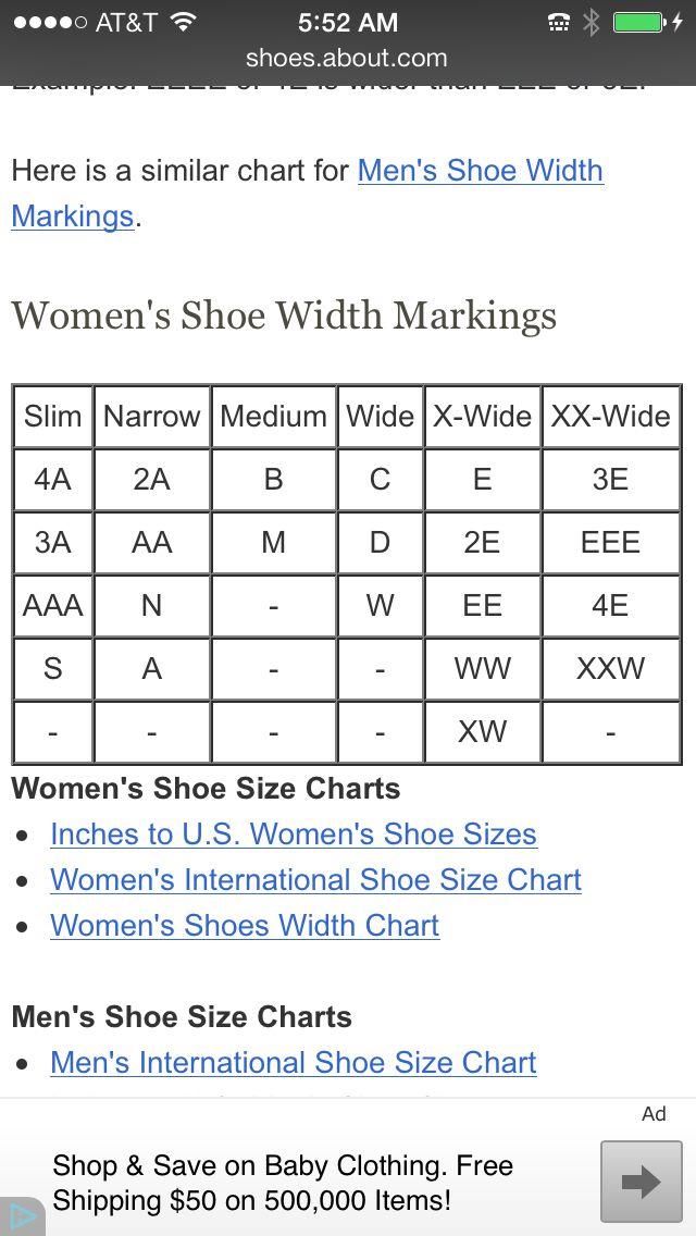 Shoe width chart | Shoe size chart