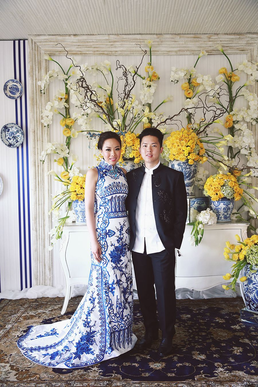 Ronald and evelynus colourful wedding with chinoiserie touches