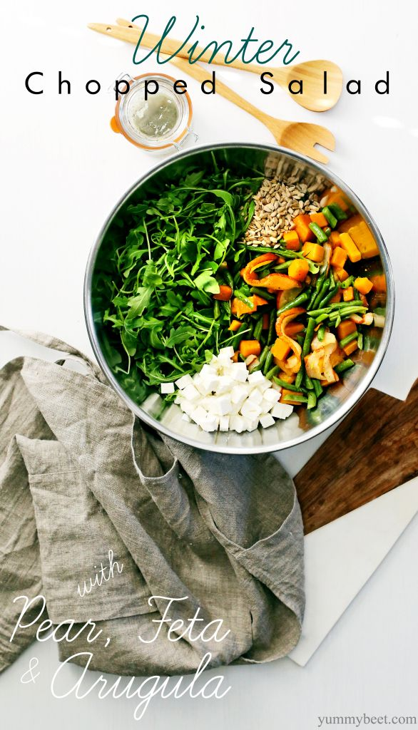 Winter Chopped Salad: I have SO much arugula and kale in the garden right now. Yum.