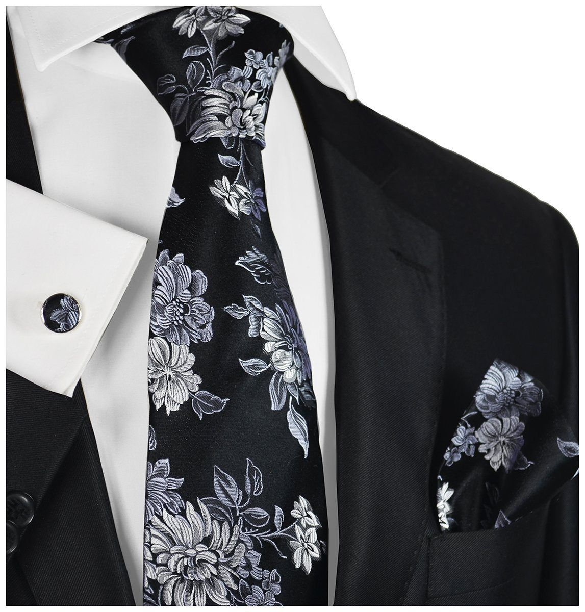 Ringbear Damask Necktie  Men Satin Black White Necktie Wedding Party Groomsmen