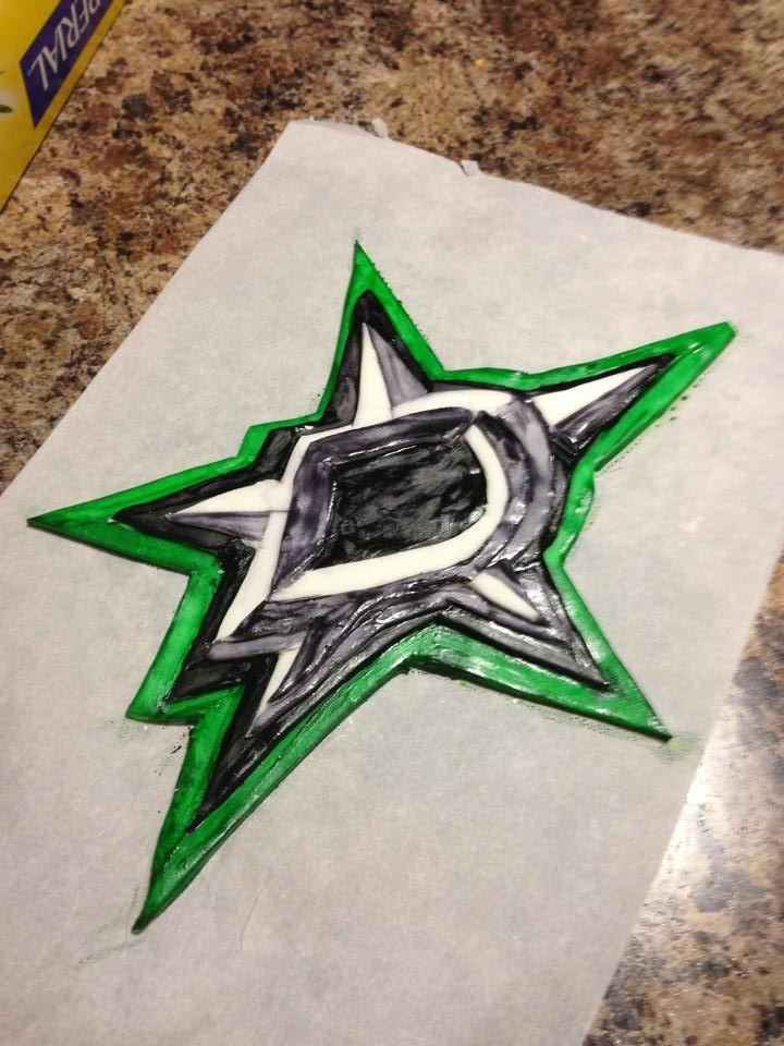 Dallas Stars Hockey Team Fondant Logo Dallas Stars Hockey Stars Hockey Hockey Birthday