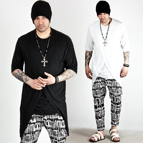 Cross incision layered accent long tee - 501