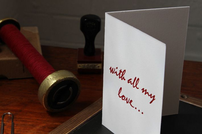"Image of ""with all my love"" letterpress gift card, 100% cotton paper"
