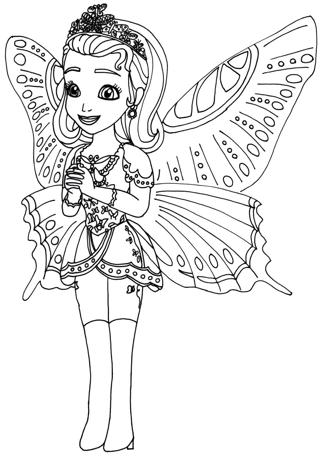 Colouring in pages for girls butterflies - Sofia The First Coloring Pages Princess Butterfly Sofia The First Coloring Page