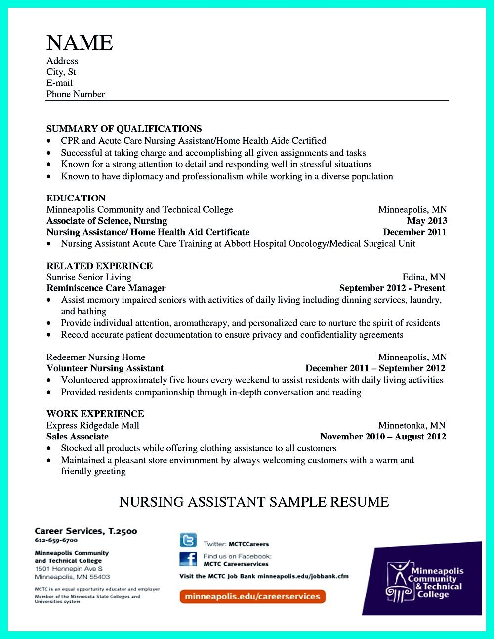 resume examples certified nursing assistant