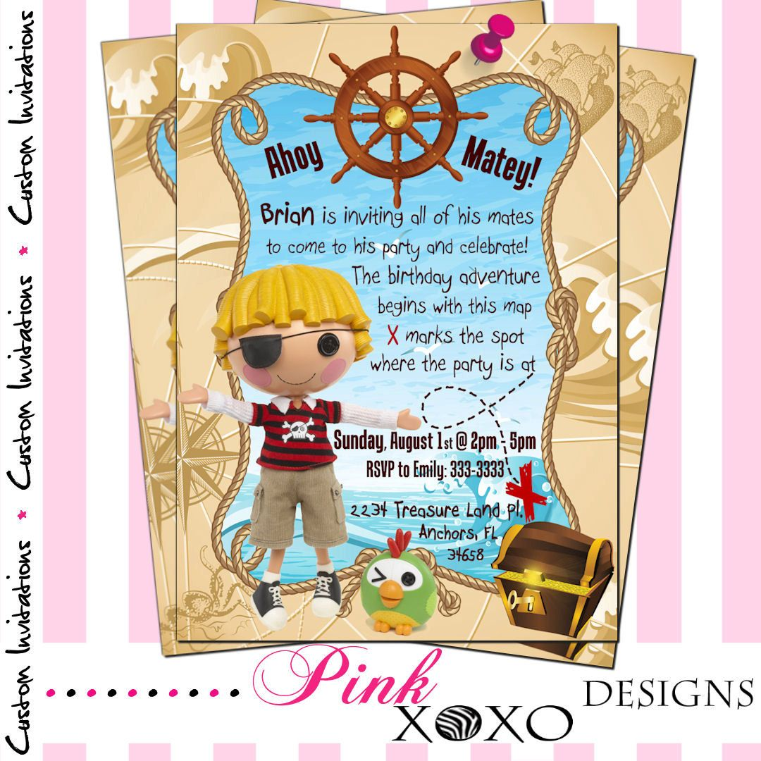 Lalaloopsy Pirate Birthday Party Invitation - Boys Printable Digital ...