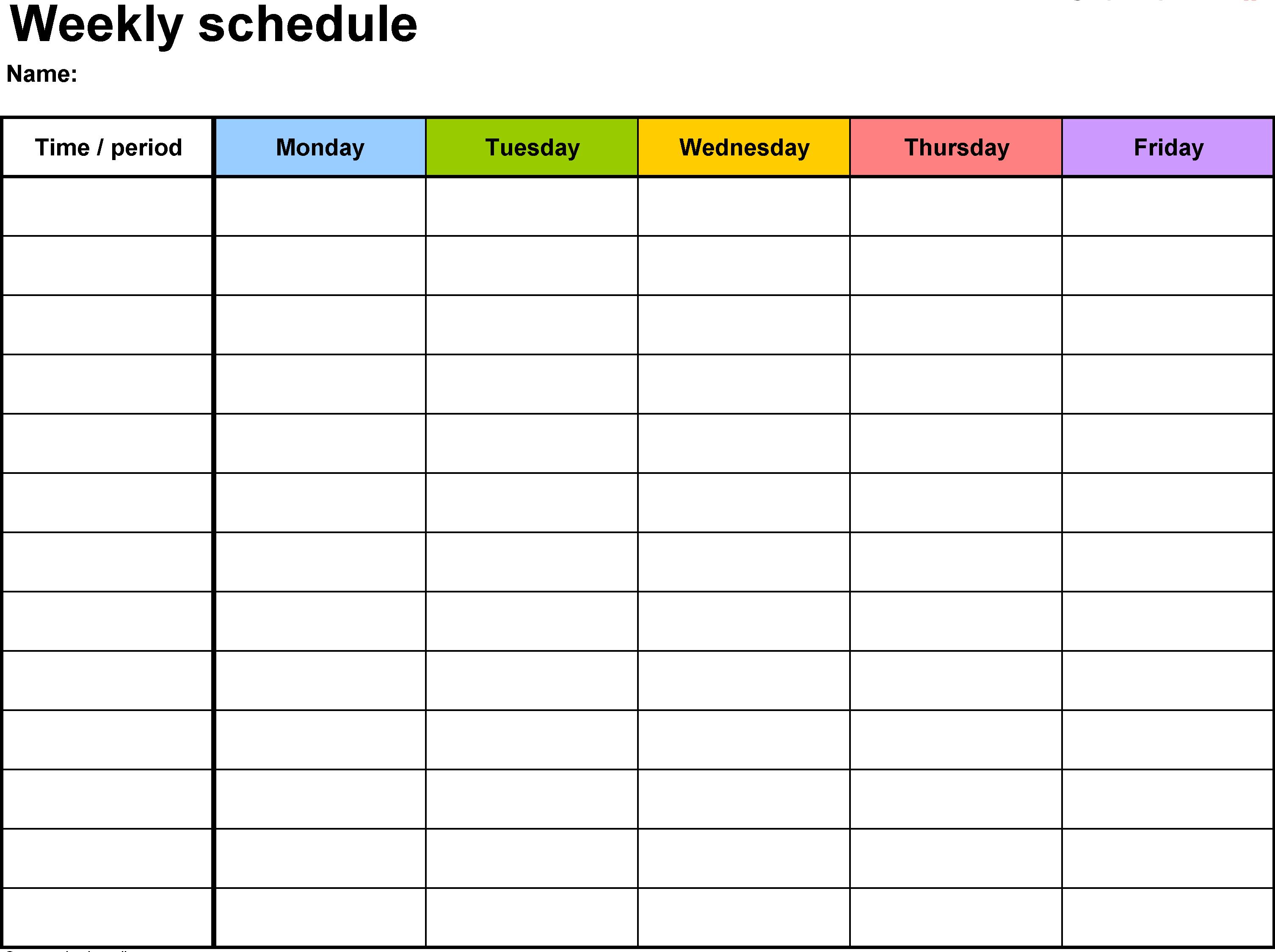 Weekly Calendar Template Weekly Calendar Excel