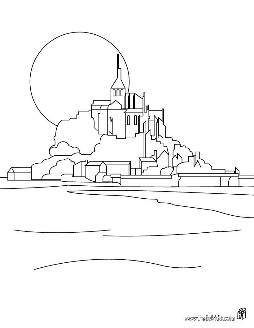 Mont Saint Michel Coloring Page Acuarela