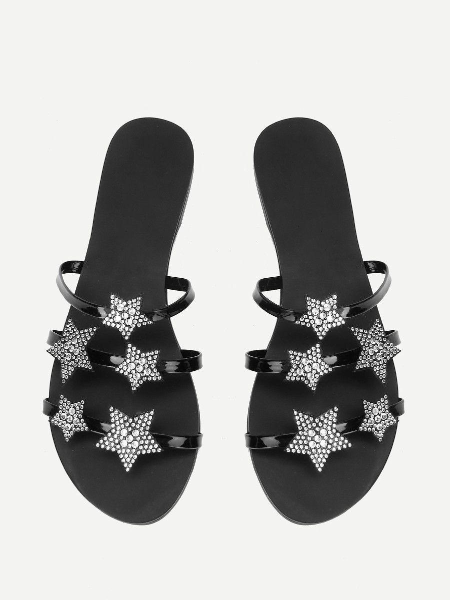 bbe6a79a80f24 Star Decorated Flat Sandals -SheIn(Sheinside)