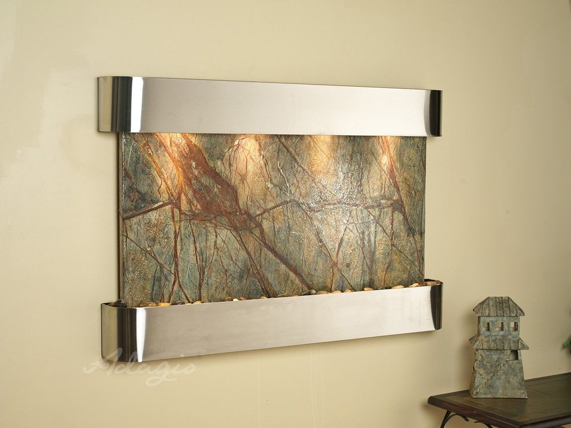 Sunrise Springs - Rainforest Green Marble with Stainless Steel Trim and Round Corners
