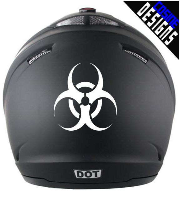 Bike Helmet Decal Biohazard Symbol Reflective Decal Custom - Custom motorcycle helmet decals