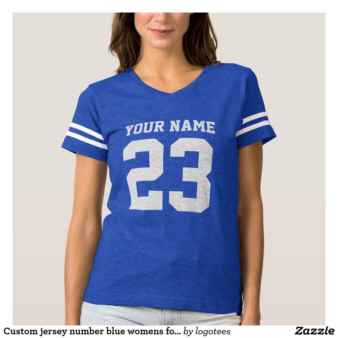 Custom Jersey Number Blue Womens Football T Shirt Pinterest