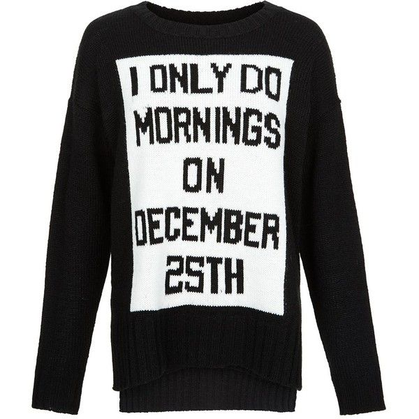 Black December 25th Slogan Christmas Jumper Christmas Jumpers Black Long Sleeve Sweater Ripped Shirts