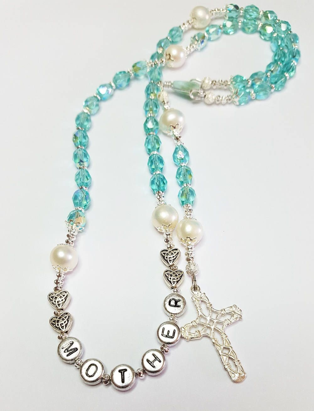 Handcrafted Heirloom Traditional Catholic Rosary ~ Gift From Bride To Mom, Mom From Son or Daughter ~ Dainty Rosary with March Birthstone by BlueWorldTreasures on Etsy