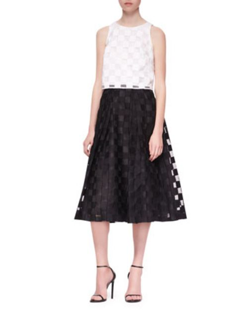 fde2f7fe899 Check out Sheer Block Full Midi Skirt by Milly  milly  chic  office  cotton   chic
