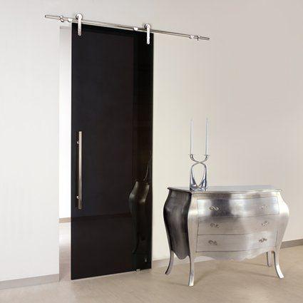 Black Chrome Glass Sliding Door With Exposed Sliding Hardware