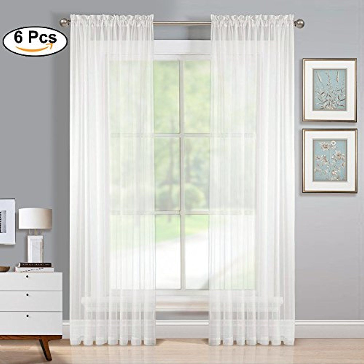 White Sheer Voile Window Curtains - Home Deco Elegant Rod Pocket