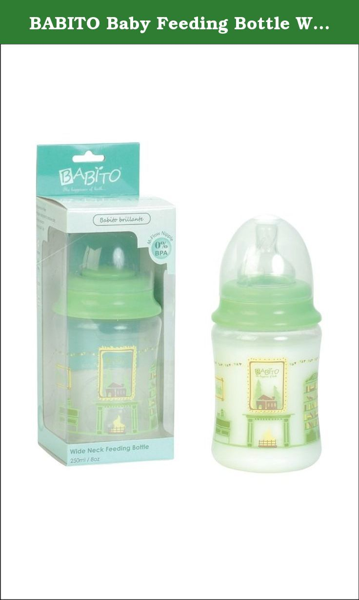 BABITO Baby Feeding Bottle With Silicone Nipple 240 Ml / 8 Oz. Green. Made from high quality Polypropylene material 100% Bisphenol-A FREE. The Babito Wide Neck bottles have initiative cheerful designs. They come with an exclusive Nipple that reduces the risk of colic. The nipple is soft, anti-collapse and leak-proof with the cover on.