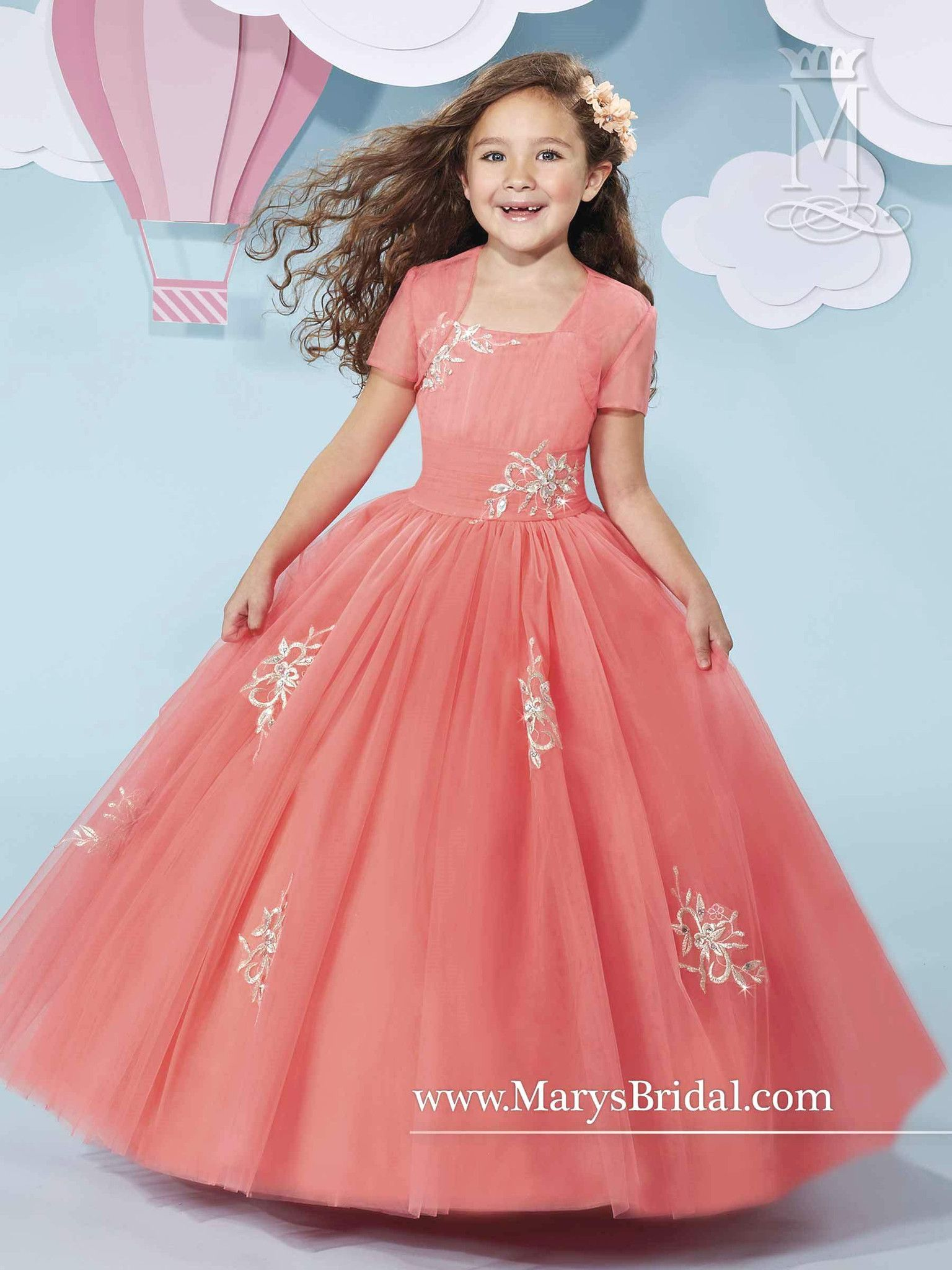 Girls Cap Sleeve Tulle Dress with Embroidery by Mary\'s Bridal Cupids ...