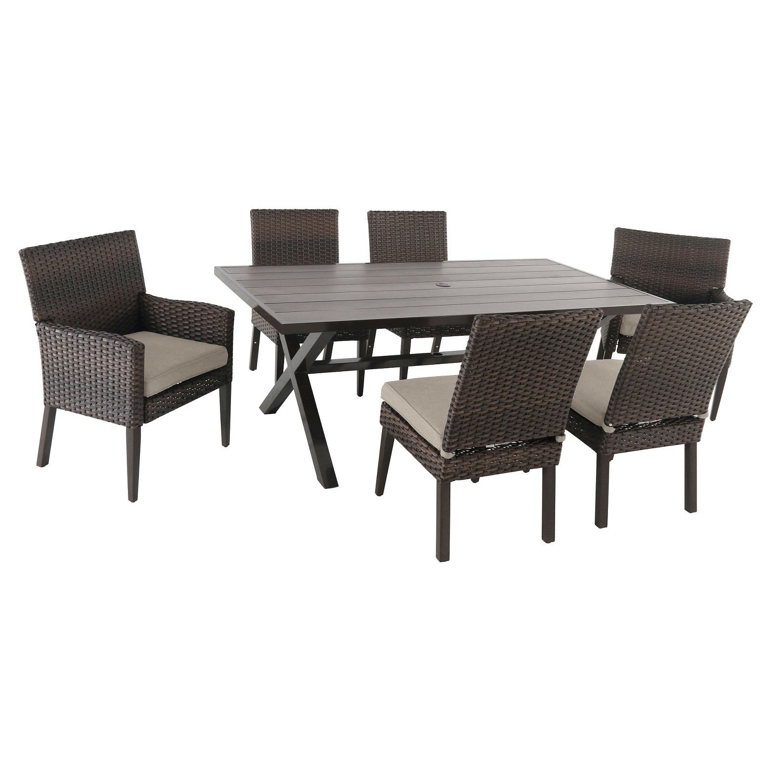 Made of wicker rust and weather resistantentertain family outdoors with the halsted wicker patio dining set from threshold this outdoor