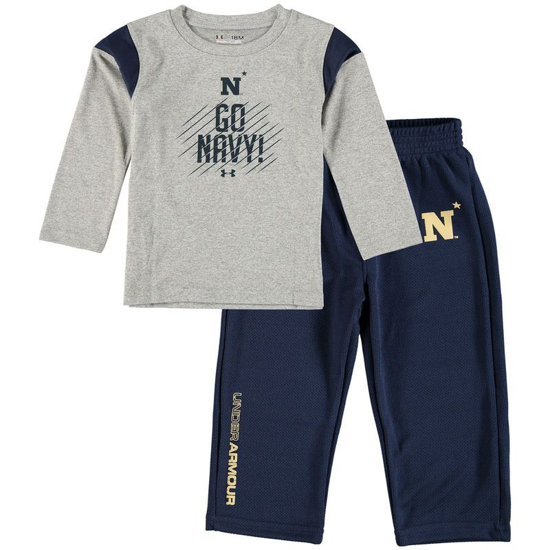 Navy Midshipmen Under Armour Infant Long Sleeve Performance T-Shirt and Pant Set - Gray/Navy