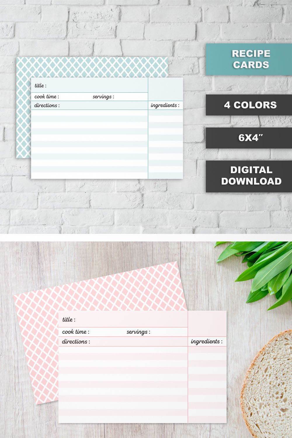 Printable Recipe Cards 6x4 4 Colors Instant Download Printable Recipe Organizer Printable Recipe Template In 2020 Printable Recipe Cards Recipe Cards Printing Double Sided