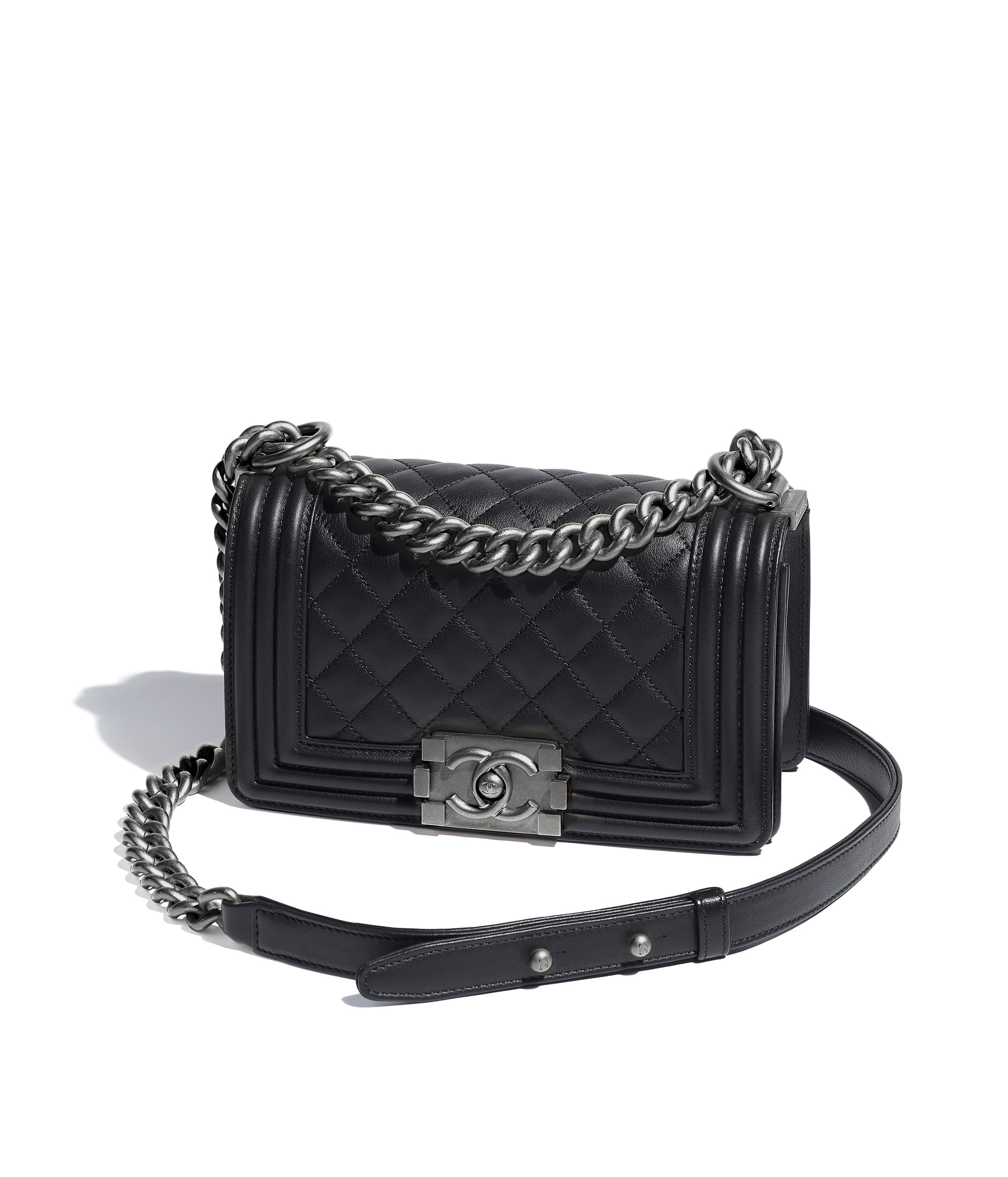 102f379a7 Small BOY CHANEL Handbag, calfskin & ruthenium-finish metal, black - CHANEL