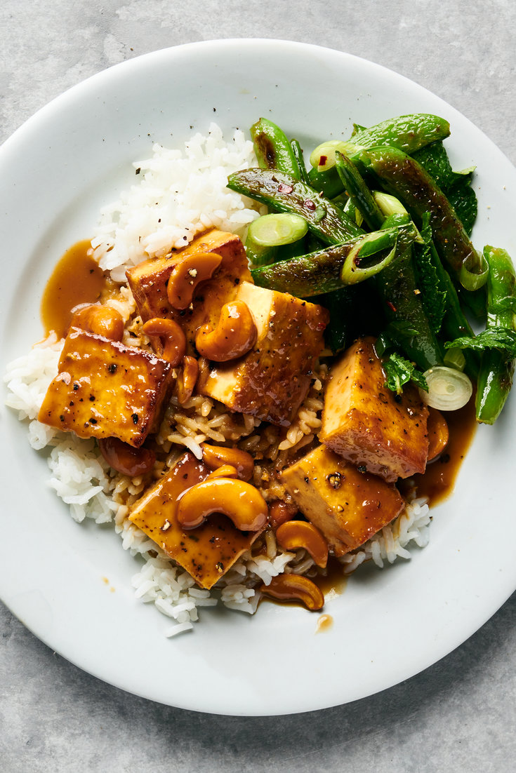 Crispy Tofu With Cashews and Blistered Snap Peas R