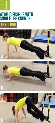 atomic pushup with single leg crunch  trx training