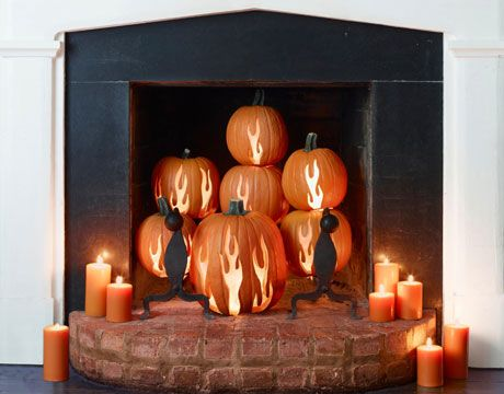 Fireplace pumpkins--holy cow this is coooool.....