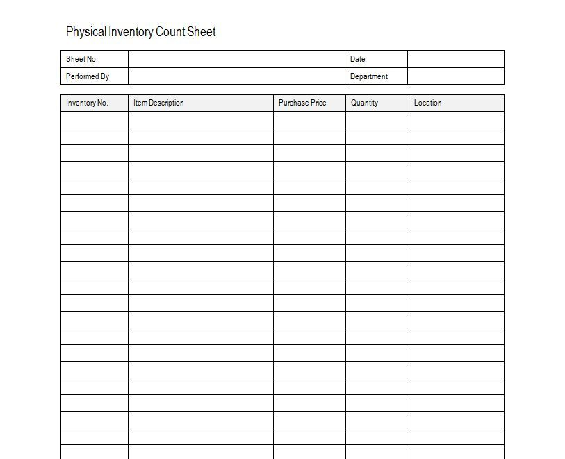 Inventory Sheet Sample Free Inventory Template Estate sale ...