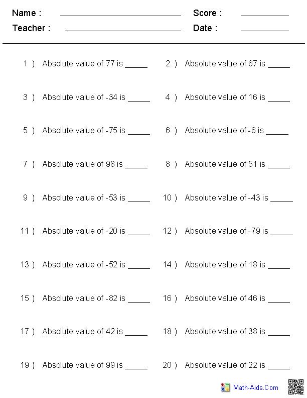 Absolute Value of Integers Worksheets   Integers worksheet