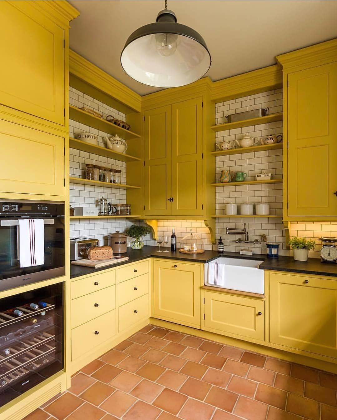 9 Glomorous Yellow Kitchen Design Ideas   Yellow kitchen cabinets ...
