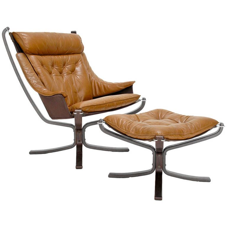 Vatne Møbler Leather Falcon Lounge Chair & Ottoman by Sigurd