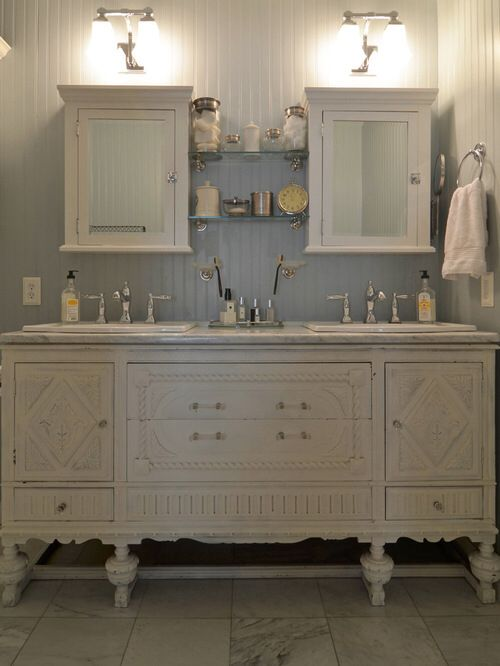 Amazing Vintage Buffet Repurposed Into A Bathroom Vanity Bathing Beauties Pinterest