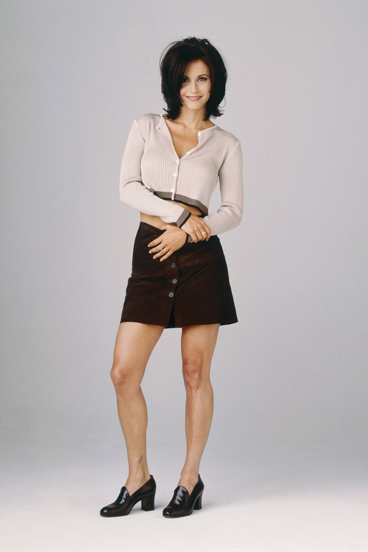 Cropped cardi + miniskirt + loafers = classic 90s look ...